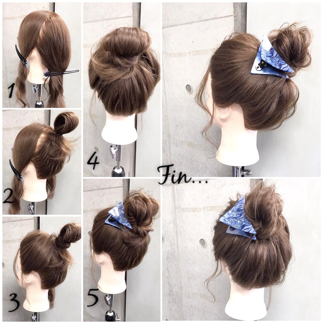 簡単 セミロング 簡単ヘアアレンジ ナチュラル ヘアスタイルや髪型の写真・画像