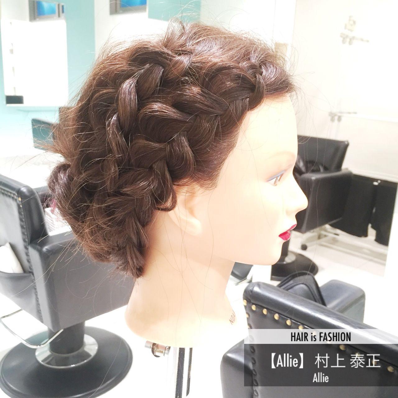 編み込み ヘアアレンジ セミロング パーティ ヘアスタイルや髪型の写真・画像