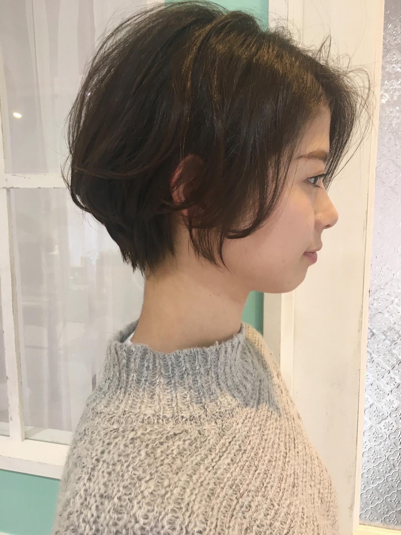 大人可愛い ナチュラル 丸みショート ショート ヘアスタイルや髪型の写真・画像 | 松田千穂 / old✂︎
