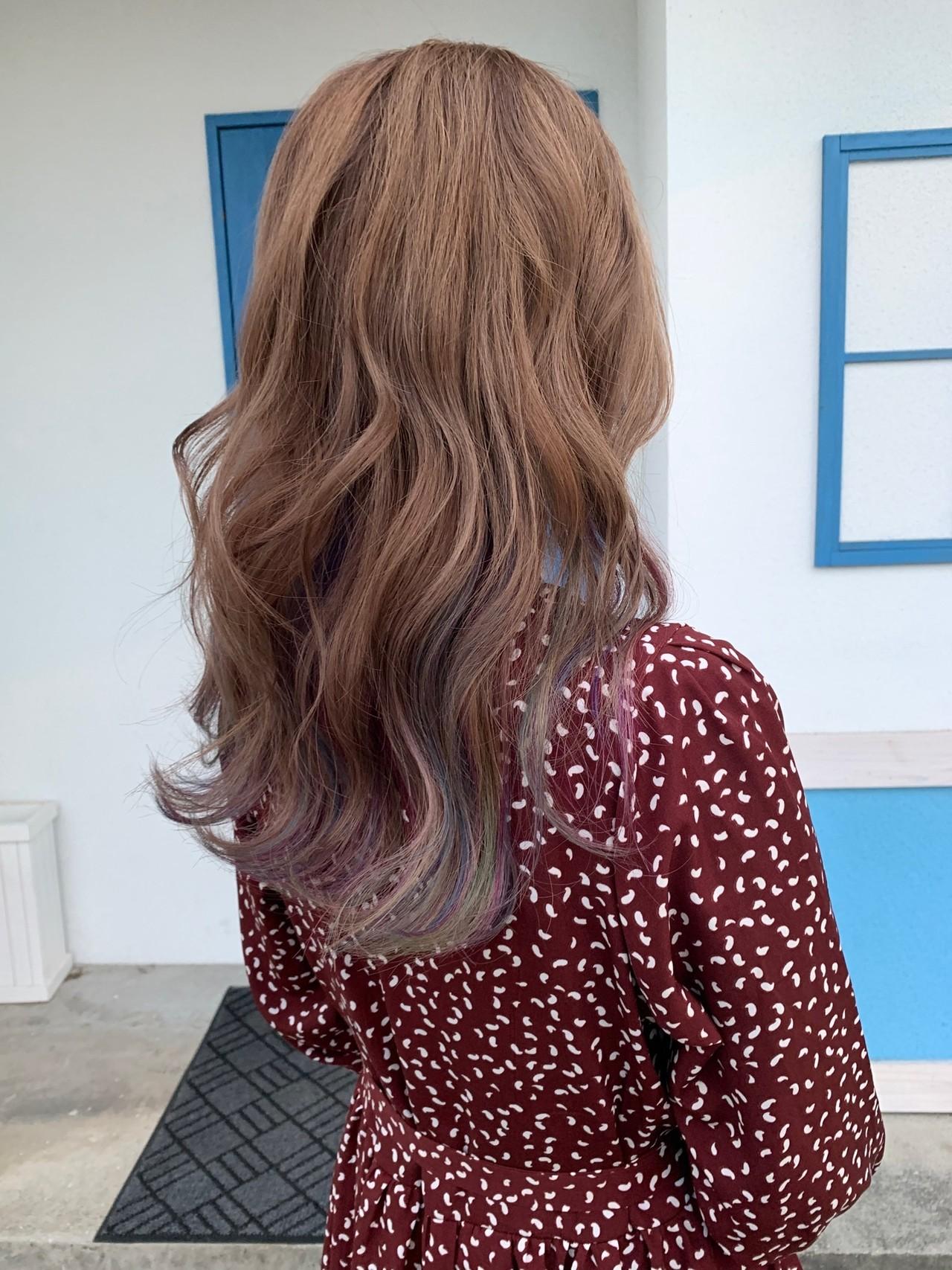 ユニコーンカラー インナーカラー ダブルカラー フェミニン ヘアスタイルや髪型の写真・画像