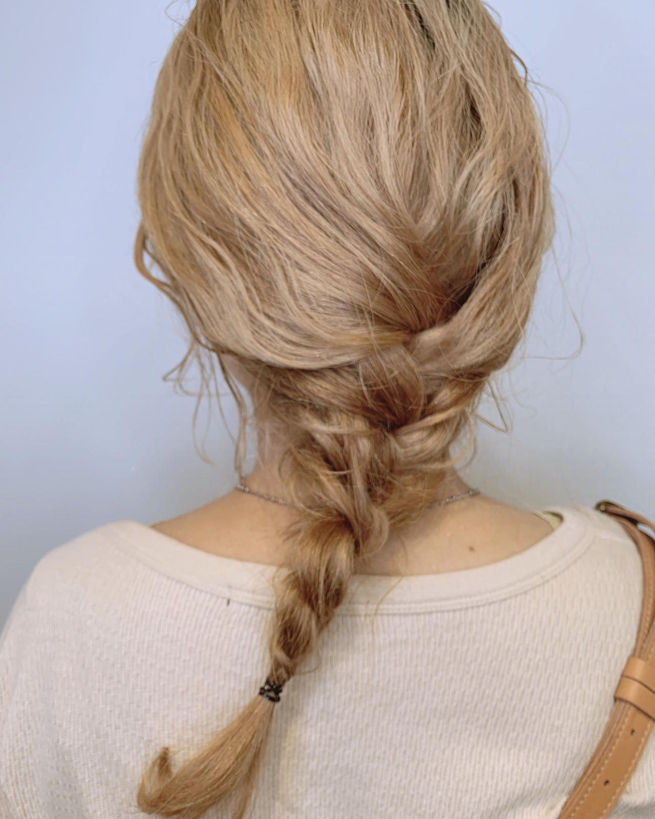 簡単ヘアアレンジ ミディアム ヘアアレンジ ブリーチカラー ヘアスタイルや髪型の写真・画像 | ショート ハイトーンの達人 ABBEY 迫田 / ABBEY