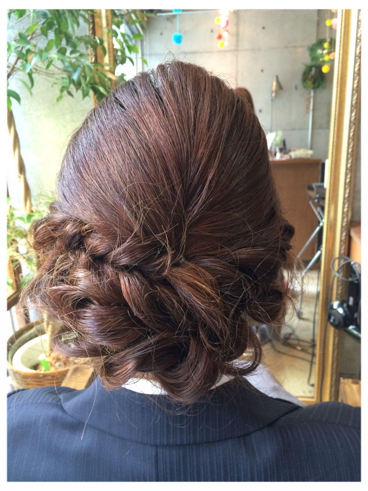 結婚式 コンサバ ヘアアレンジ ボブ ヘアスタイルや髪型の写真・画像