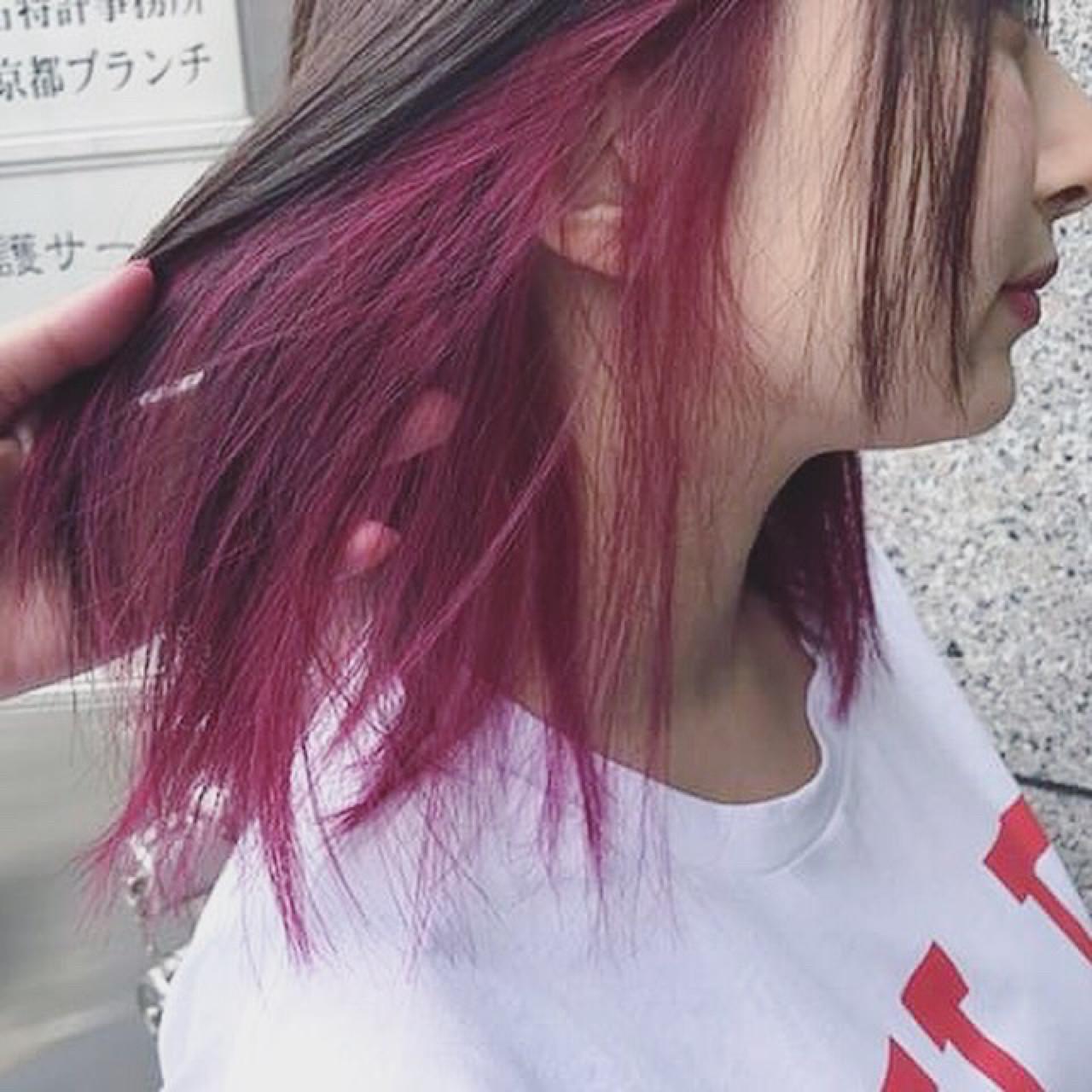 ピンク アウトドア ストリート ラベンダーピンク ヘアスタイルや髪型の写真・画像