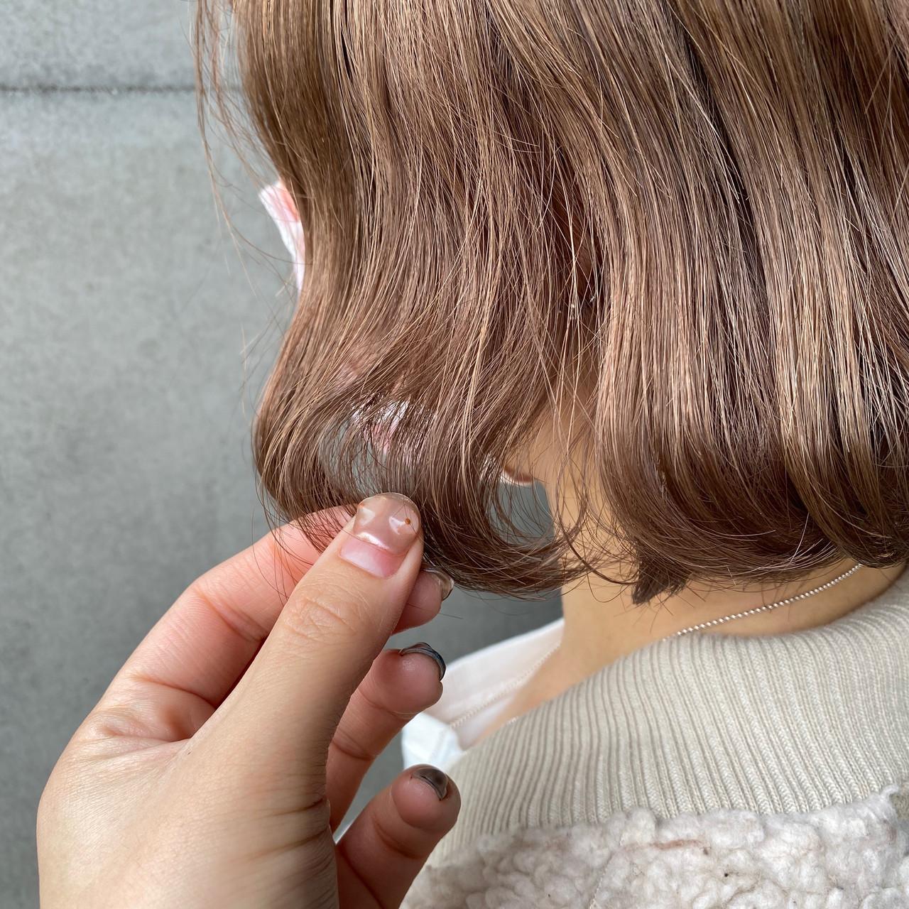 ナチュラル ヌーディベージュ ベージュ 切りっぱなしボブ ヘアスタイルや髪型の写真・画像 | 山口 美佳 / loco by  neolive