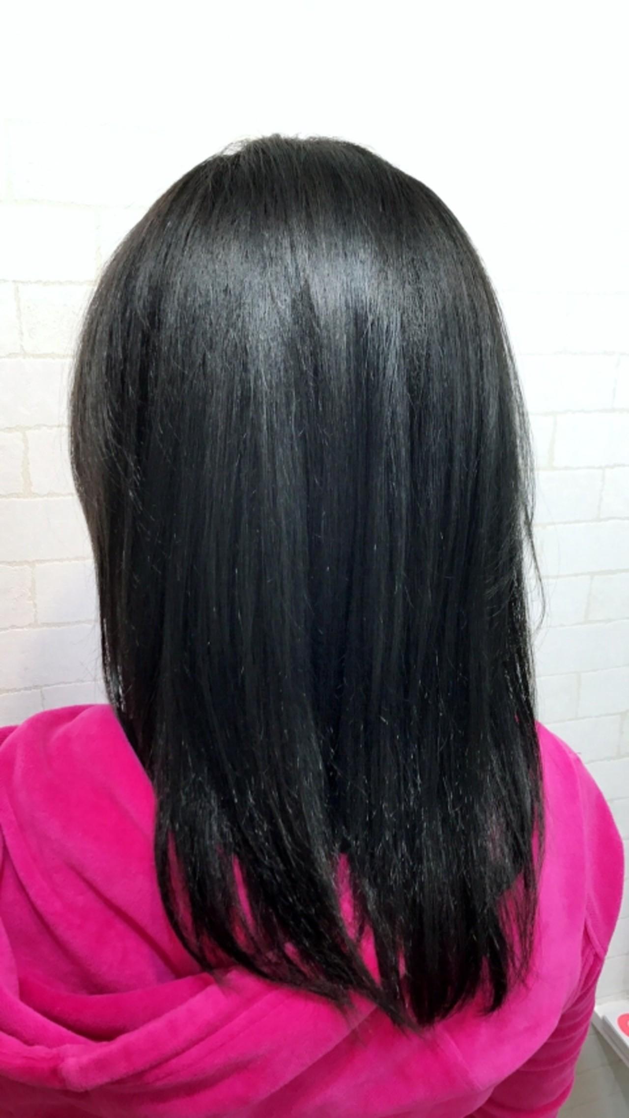 縮毛矯正+カラー  ストカール+インディゴブルー