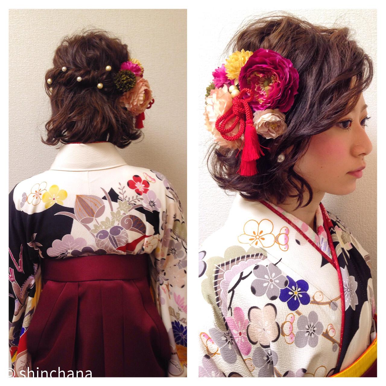 ヘアアレンジ 袴 ゆるふわ ボブ ヘアスタイルや髪型の写真・画像   中村 慎太郎 / CHICCA  Y's brand