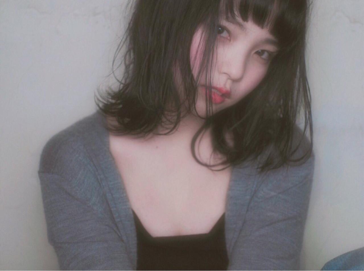 暗髪 色気 ボブ ロブ ヘアスタイルや髪型の写真・画像
