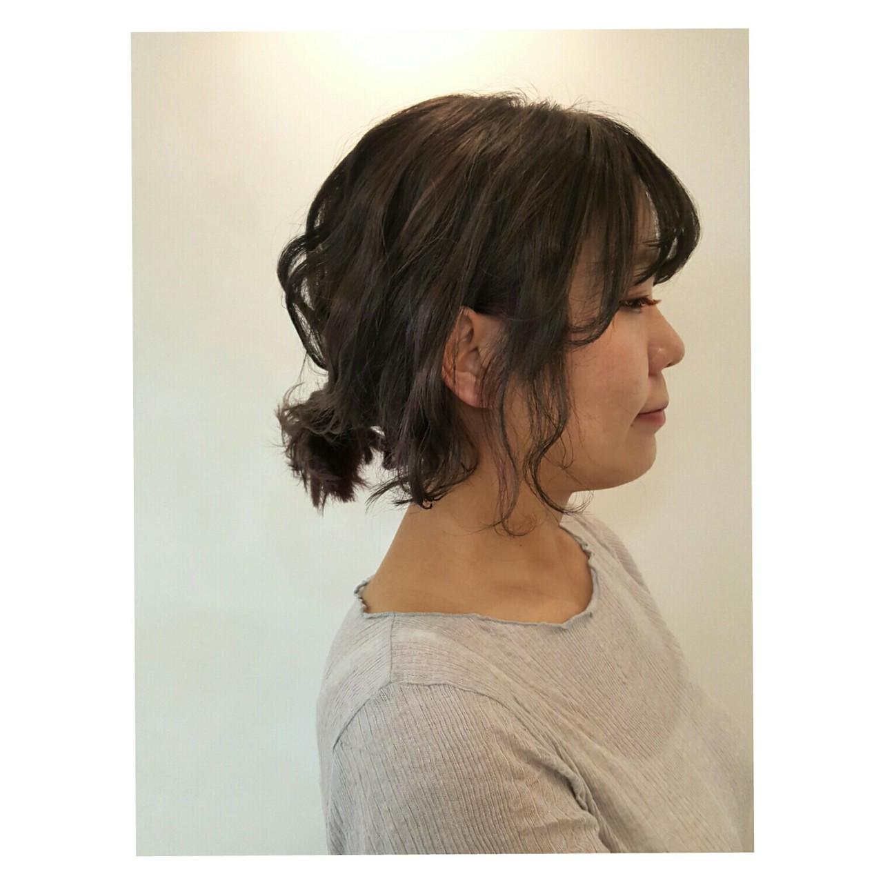 ショート ボブ 簡単ヘアアレンジ アッシュグレージュ ヘアスタイルや髪型の写真・画像