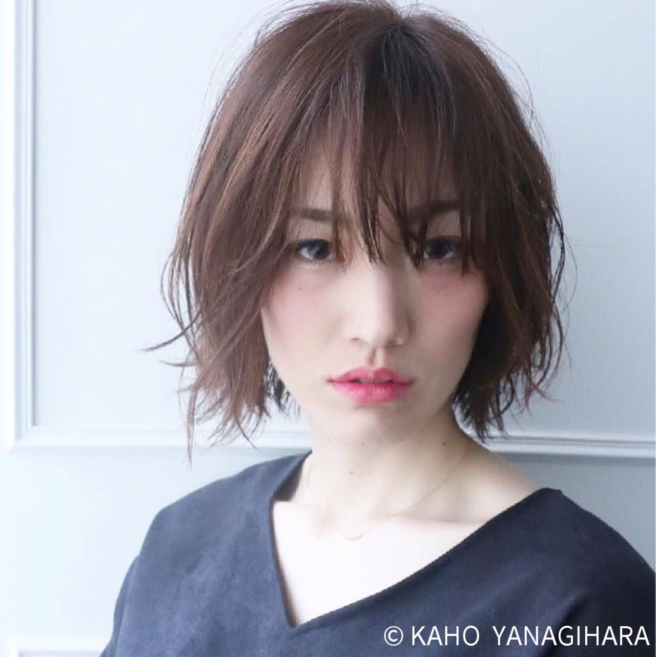 ナチュラル ショートボブ ボブ ショート ヘアスタイルや髪型の写真・画像 | KAHO YANAGIHARA /