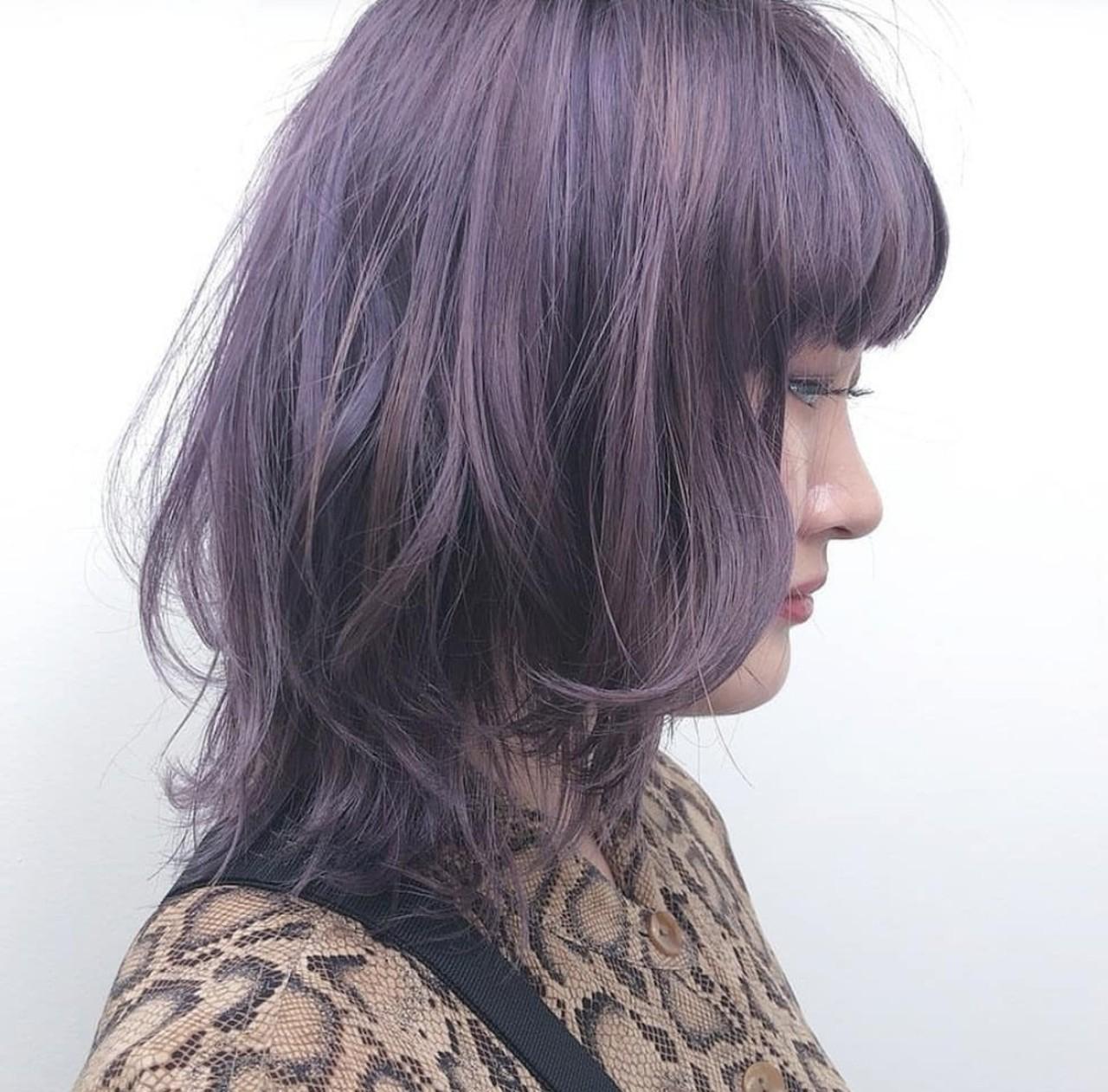 ミディアム ストリート アッシュ パープル ヘアスタイルや髪型の写真・画像 | Yusuke Matsumoto / HAIR'S Lunetta 心斎橋