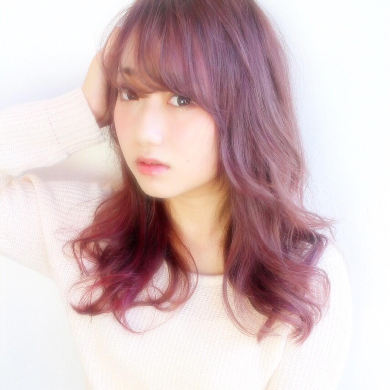 ゆるふわ ピンク ガーリー セミロング ヘアスタイルや髪型の写真・画像