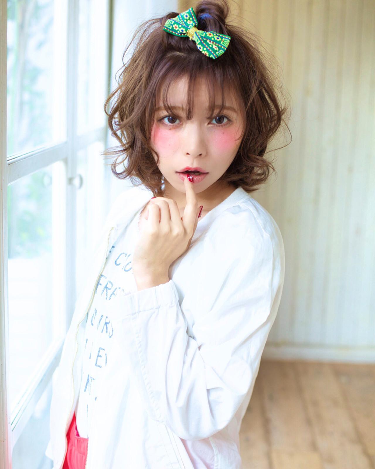 ガーリー 簡単ヘアアレンジ ゆるふわ ボブ ヘアスタイルや髪型の写真・画像 | 木村 直継 / Ash 東戸塚