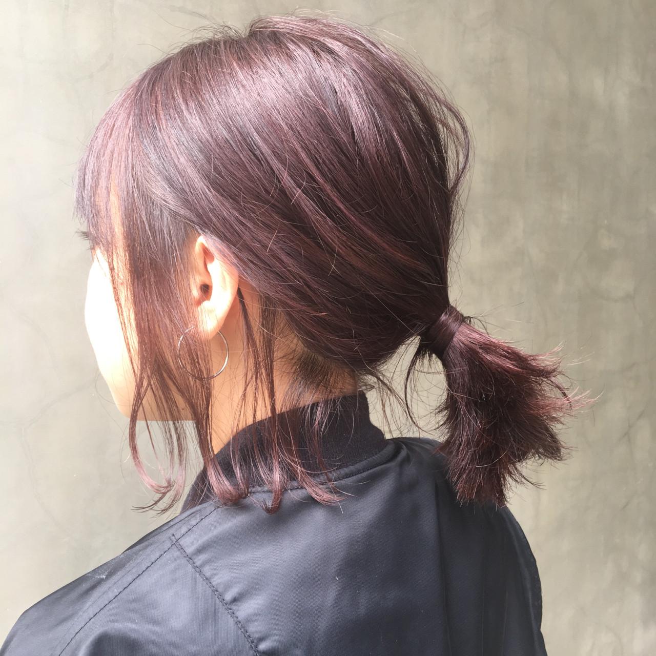 ボブ レッド ピンク ショート ヘアスタイルや髪型の写真・画像