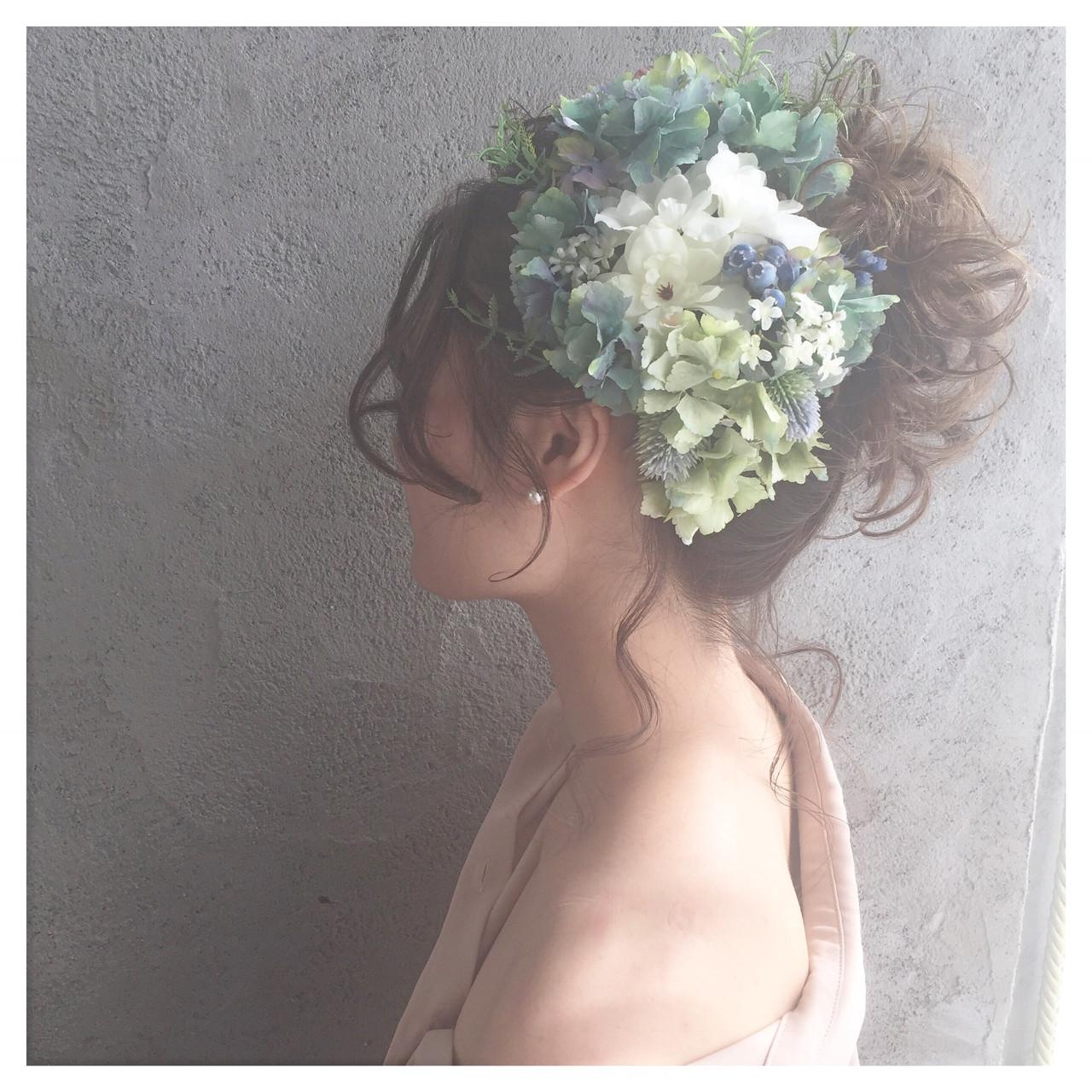 フェミニン ヘアアレンジ ロング 結婚式 ヘアスタイルや髪型の写真・画像   北崎麻美/LUKE福岡⇄dakotaracy東京 / LUKE FUKUOKA