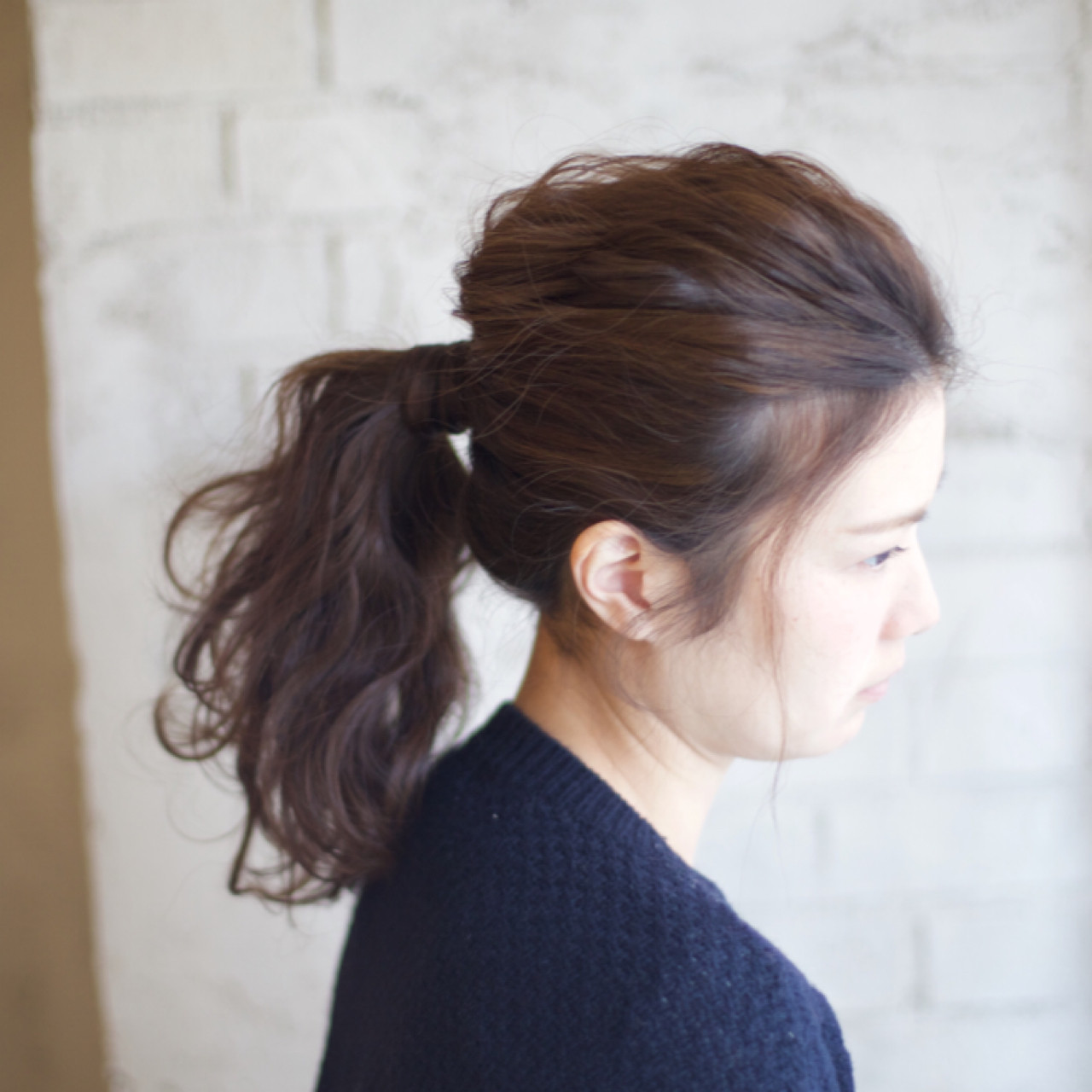 簡単ヘアアレンジ 大人かわいい ショート ポニーテール ヘアスタイルや髪型の写真・画像