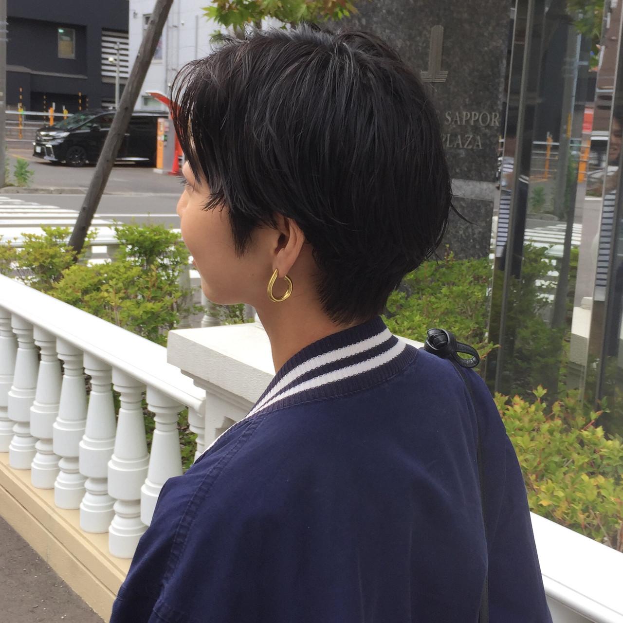 ナチュラル 前下がりショート ショート 小顔ショート ヘアスタイルや髪型の写真・画像