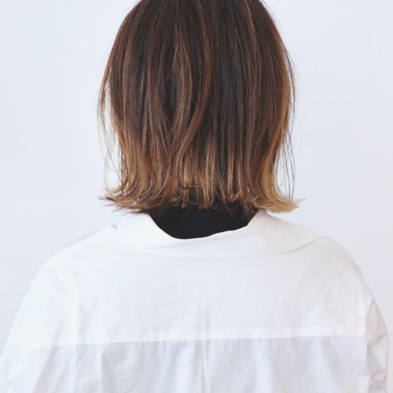 ボブ 切りっぱなしボブ ミディアムレイヤー ミニボブ ヘアスタイルや髪型の写真・画像