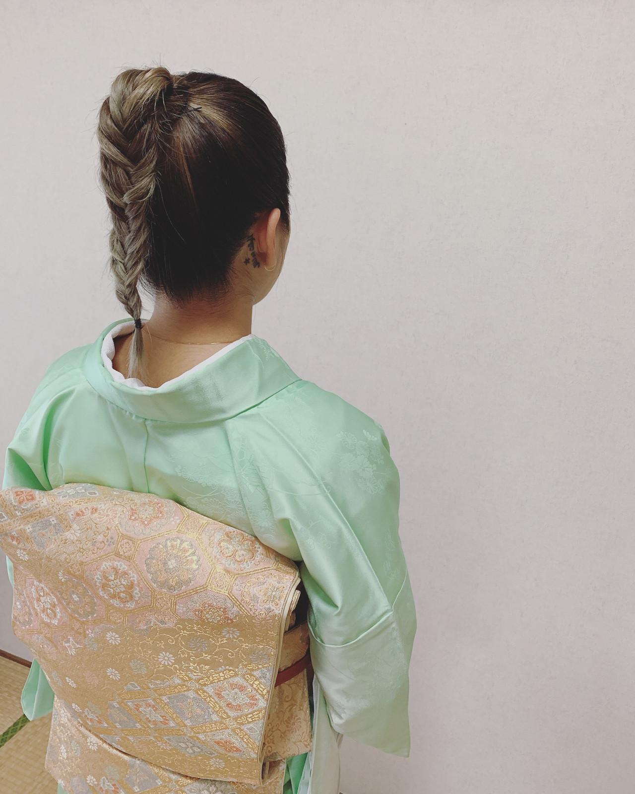 ナチュラル 浴衣アレンジ ミディアム 浴衣ヘア ヘアスタイルや髪型の写真・画像 | Moriyama Mami / 福岡天神ヘアセット・着付け専門店【Three-keys】