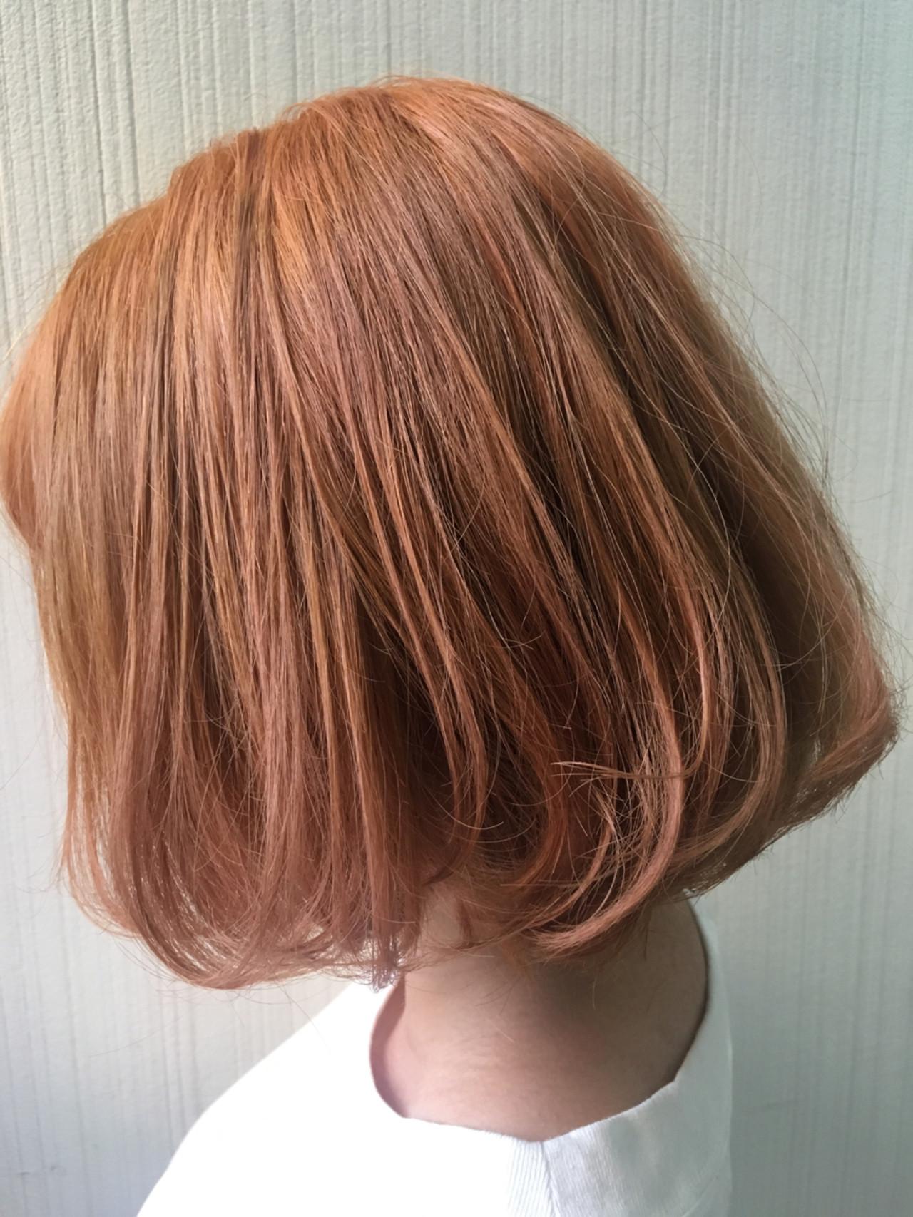 ナチュラル ピンク オレンジベージュ ミディアム ヘアスタイルや髪型の写真・画像 | 土屋一貴 / TOMCAT