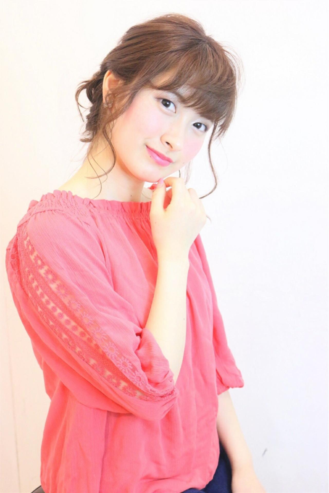 ミディアム シースルーバング ショート 簡単ヘアアレンジ ヘアスタイルや髪型の写真・画像 | 岸本美咲 /