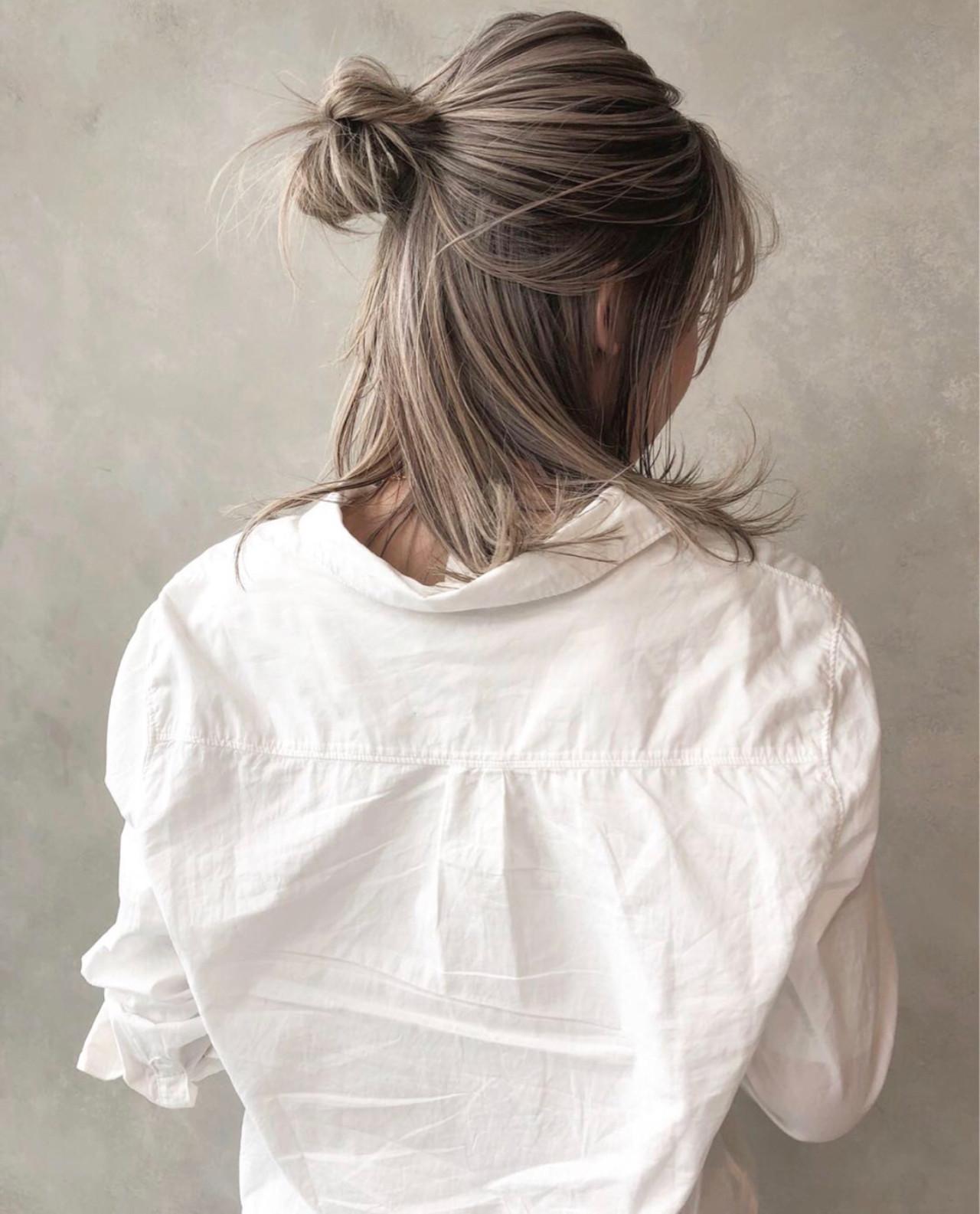 グレージュ アッシュ ストリート ミディアム ヘアスタイルや髪型の写真・画像 | ALT 森田 正浩 / ALT