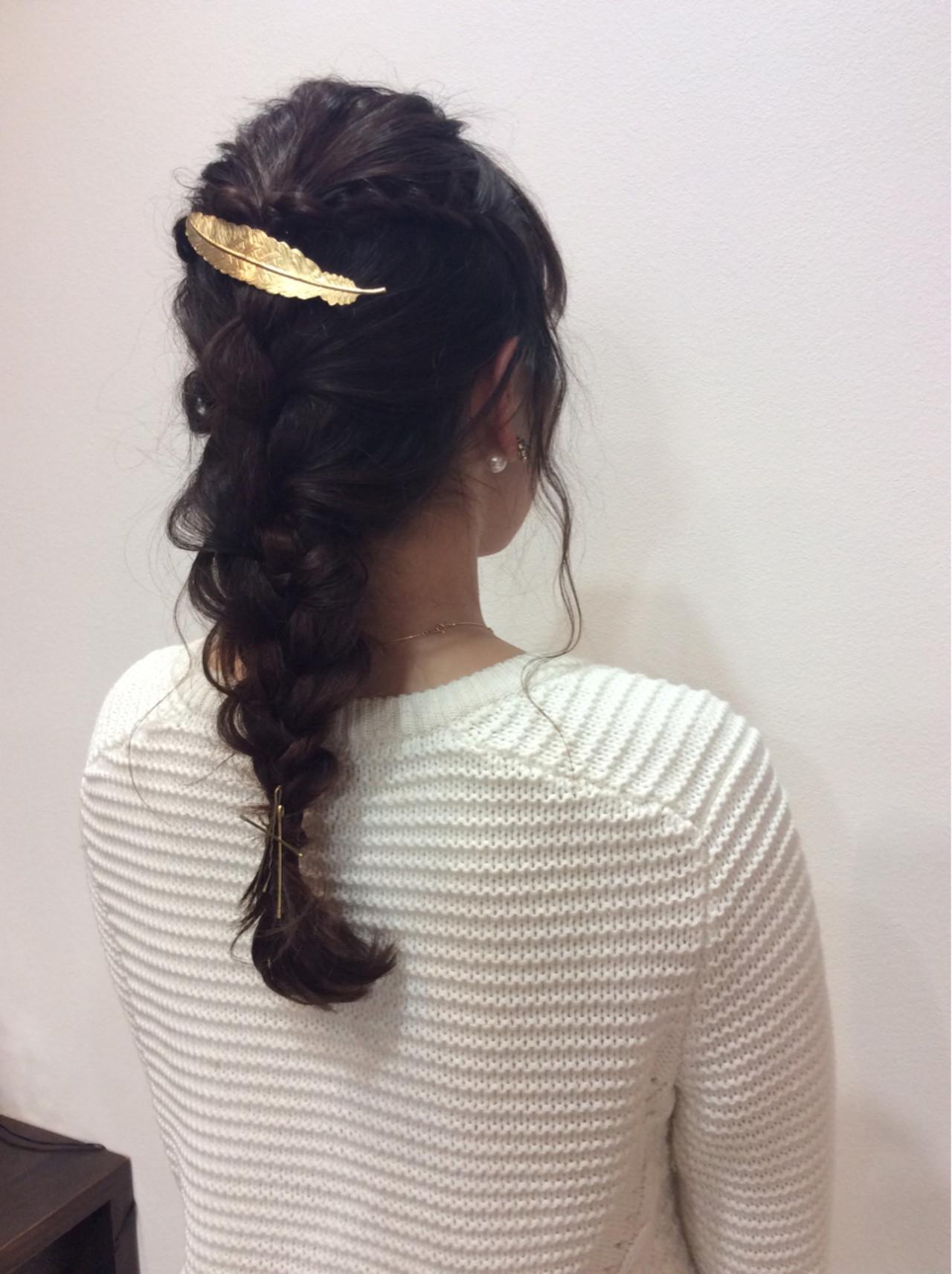 編み込み ガーリー 大人かわいい ロング ヘアスタイルや髪型の写真・画像