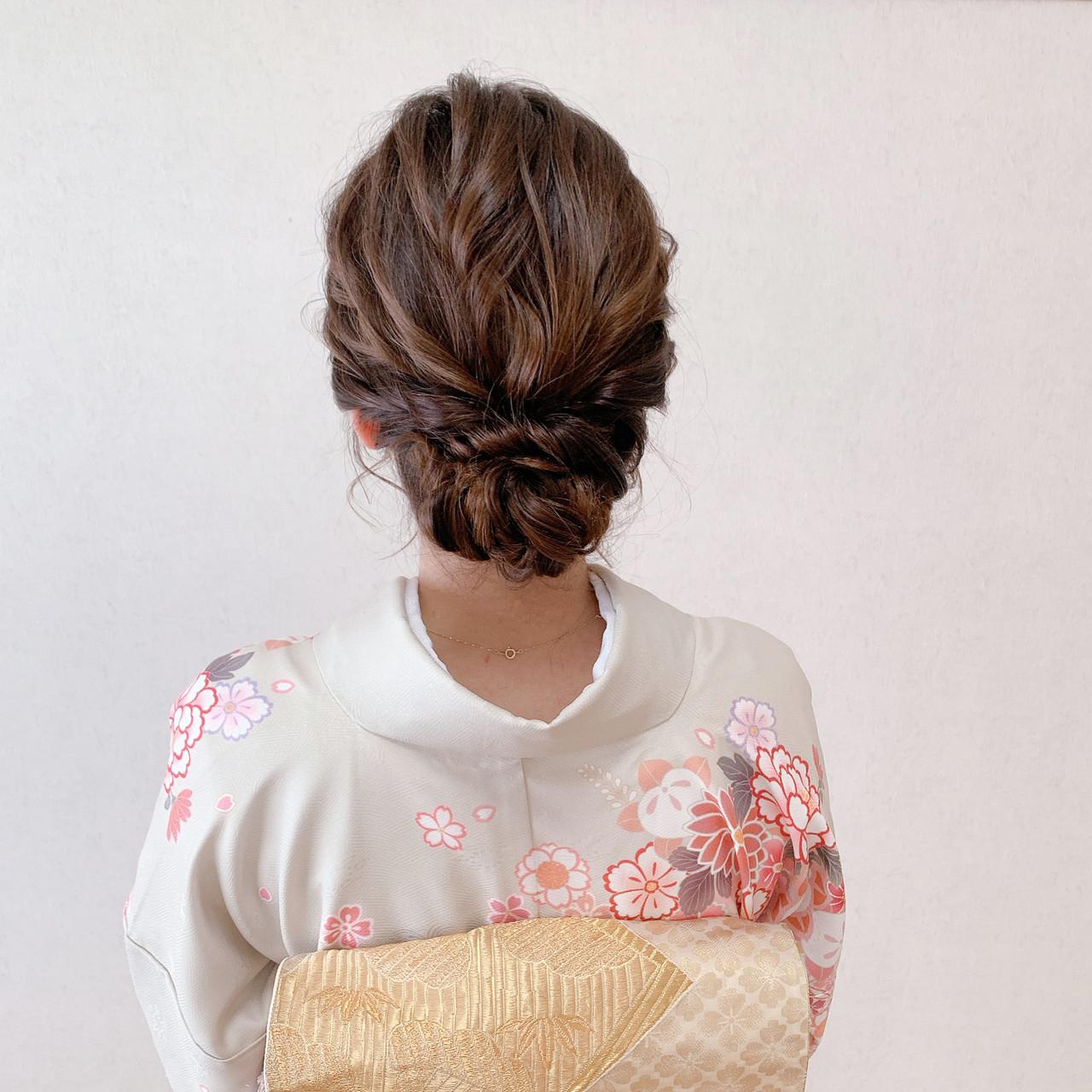 着物 ミディアム お呼ばれ 卒業式 ヘアスタイルや髪型の写真・画像 | Moriyama Mami / 福岡天神ヘアセット・着付け専門店【Three-keys】