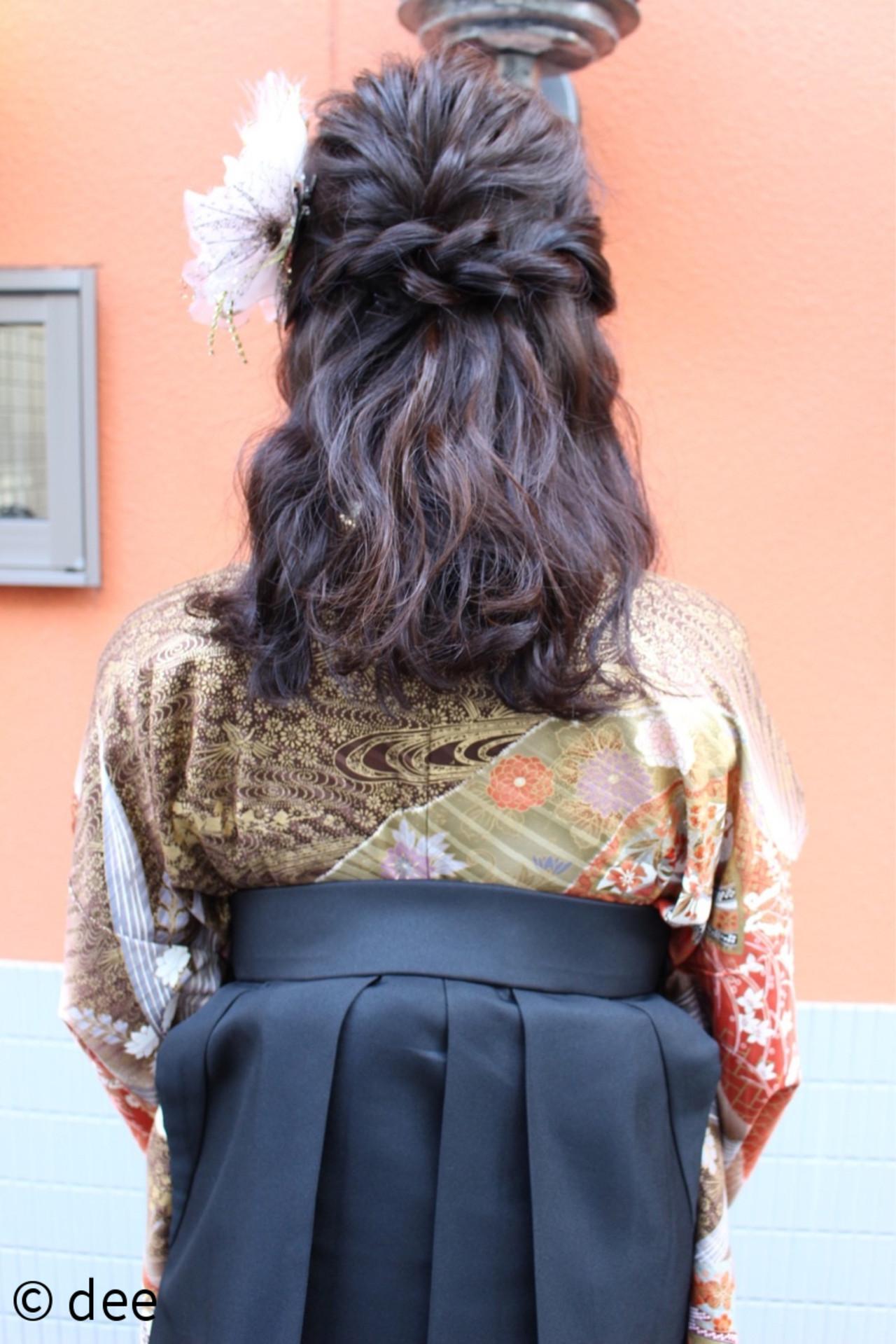 謝恩会 ナチュラル セミロング 学校 ヘアスタイルや髪型の写真・画像 | dee / dee