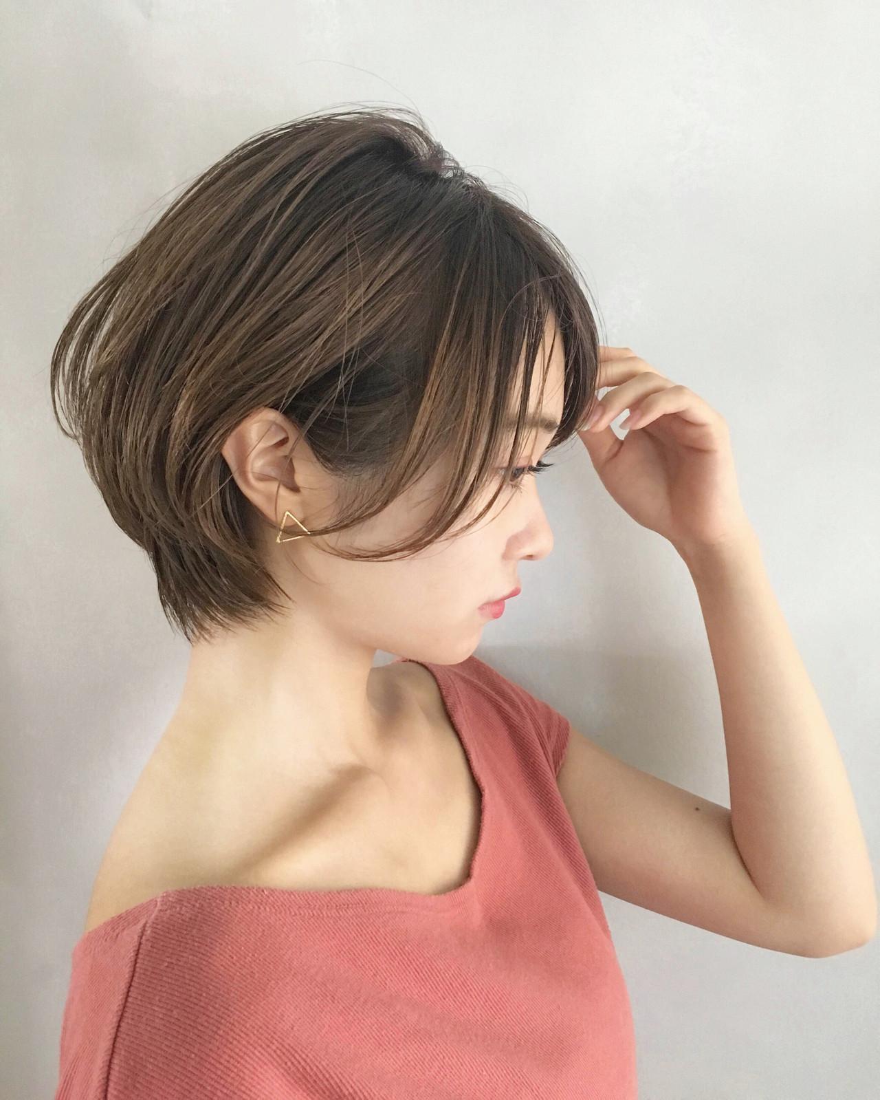前下がりショート ショート 黒髪 ナチュラル ヘアスタイルや髪型の写真・画像 | NAOMI / Ramie