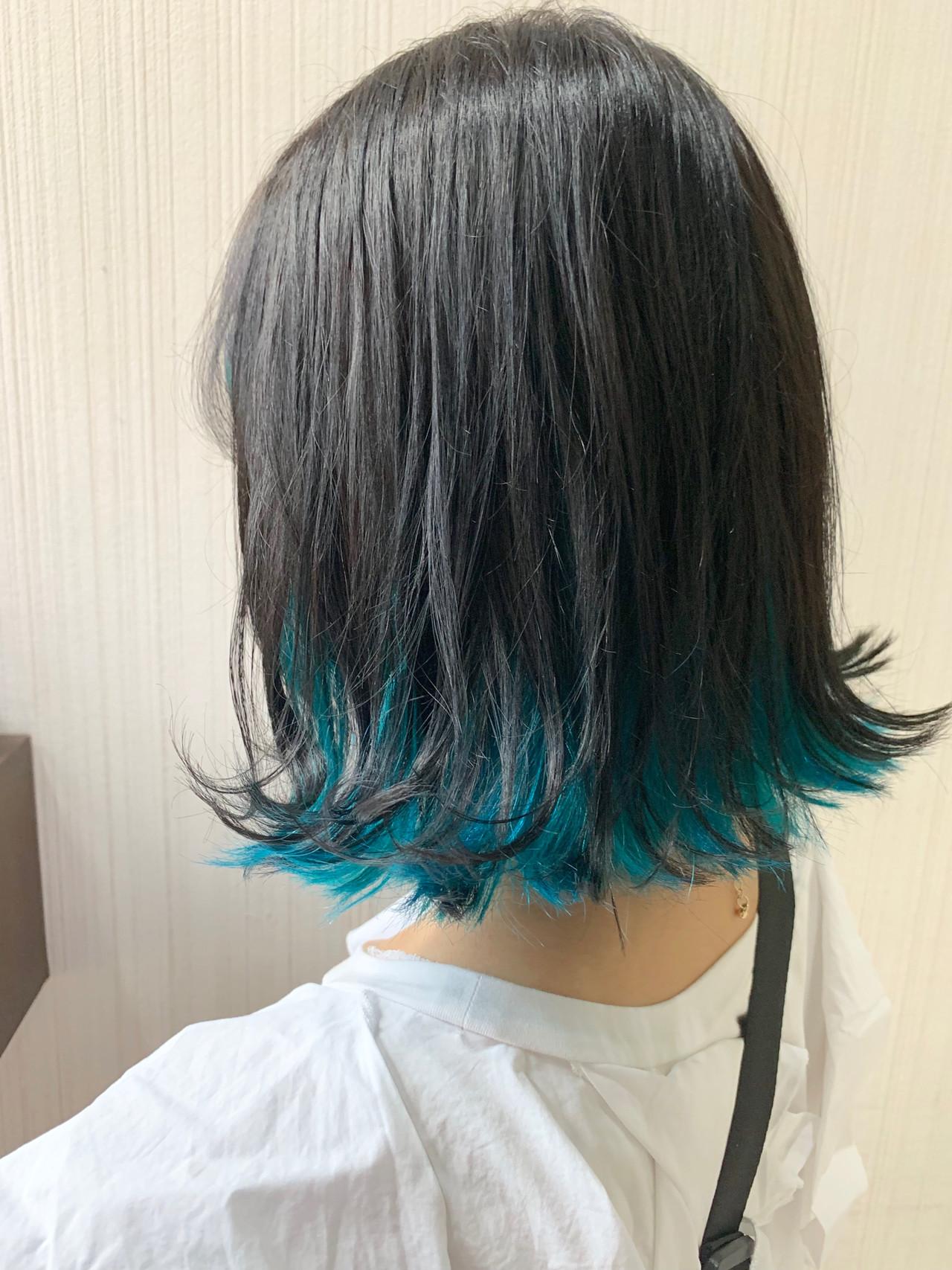 ナチュラル ヘアアレンジ ターコイズブルー 簡単ヘアアレンジ ヘアスタイルや髪型の写真・画像