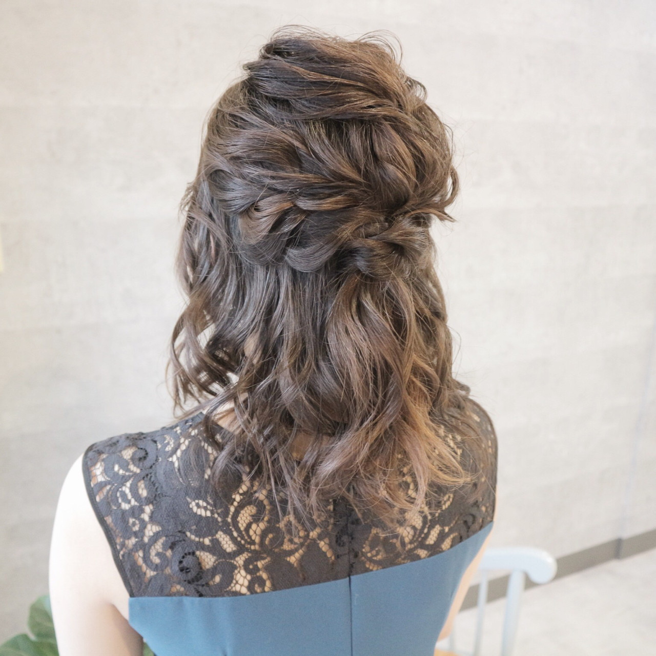結婚式 エレガント セミロング 簡単ヘアアレンジ ヘアスタイルや髪型の写真・画像