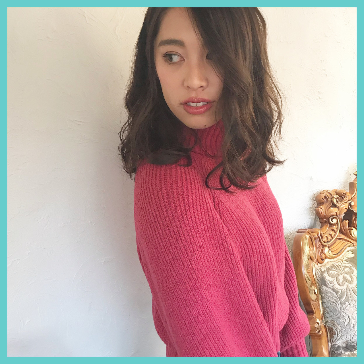 フェミニン ヘアアレンジ ウェーブ ラベンダーピンク ヘアスタイルや髪型の写真・画像