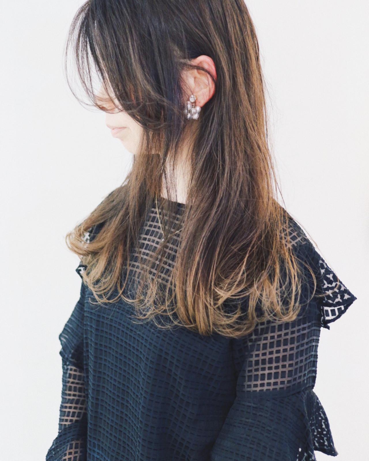 ゆるふわ バレイヤージュ セミロング ハイライト ヘアスタイルや髪型の写真・画像 | 三好 佳奈美 / Baco.(バコ)
