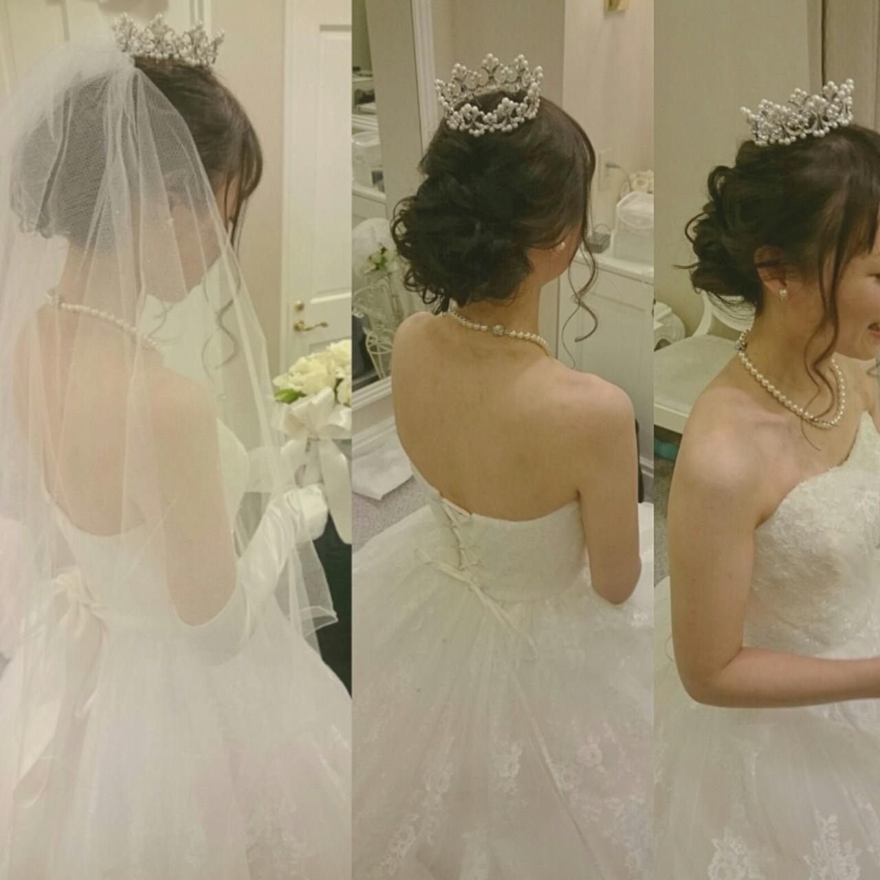 ドレス ブライダル ヘアアレンジ 大人かわいい ヘアスタイルや髪型の写真・画像