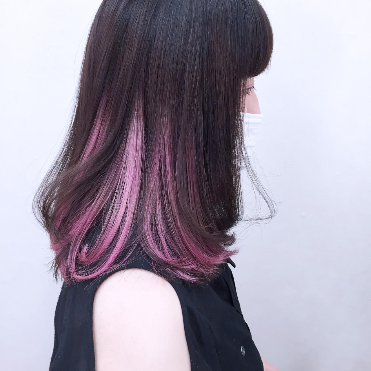 レッド インナーカラー 外国人風 色気 ヘアスタイルや髪型の写真・画像