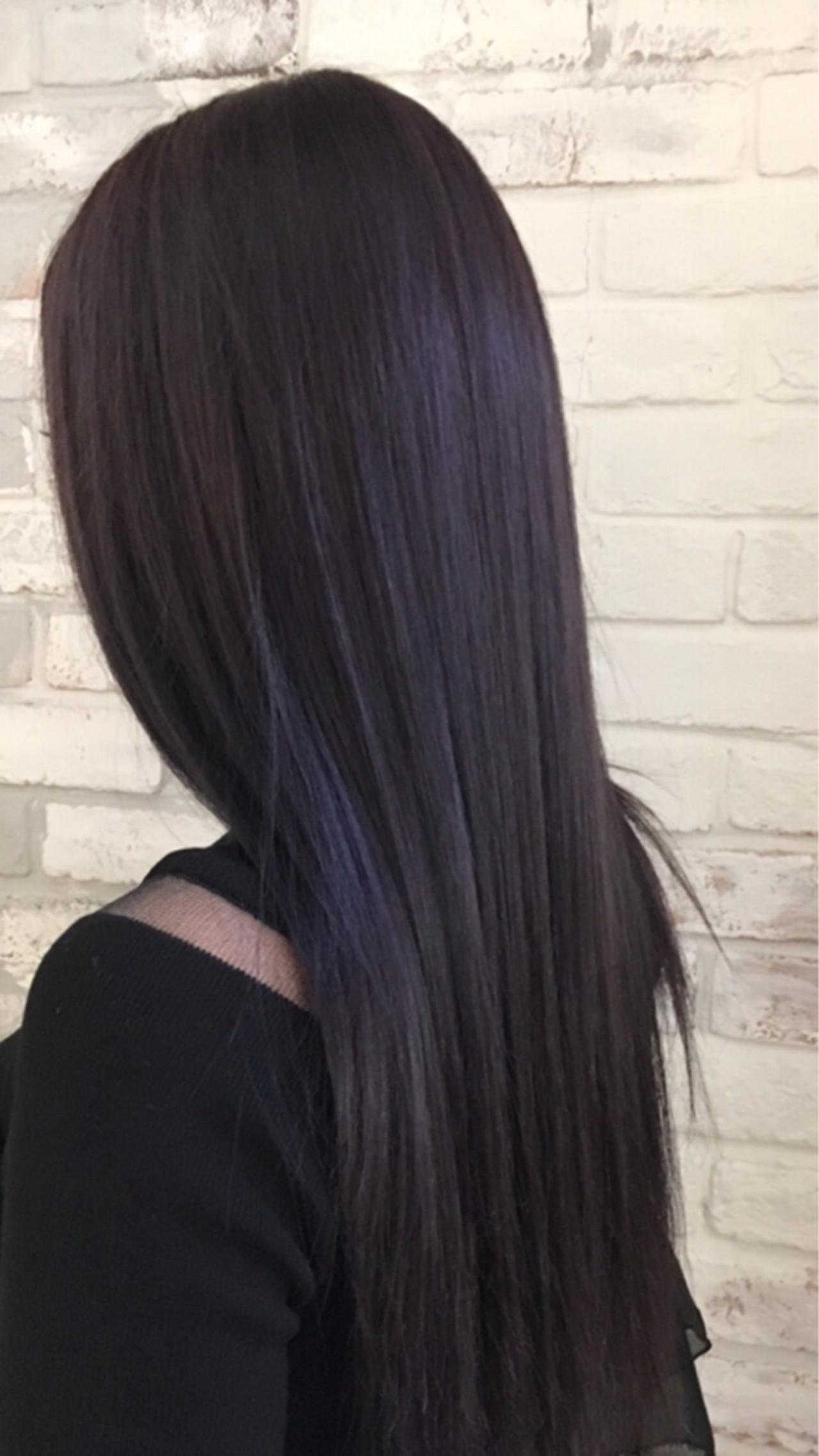 パープル 冬 秋 ロング ヘアスタイルや髪型の写真・画像