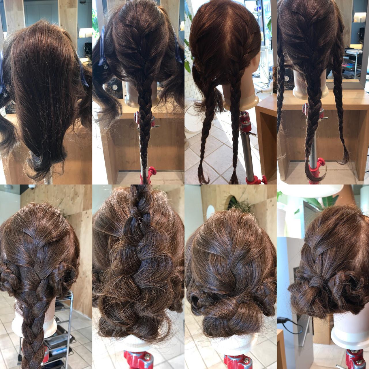 三つ編み ショート 簡単ヘアアレンジ ヘアアレンジ ヘアスタイルや髪型の写真・画像 | YASU / hair salon M.plus ヨツバコ店 (ヘアーサロン エムプラス)
