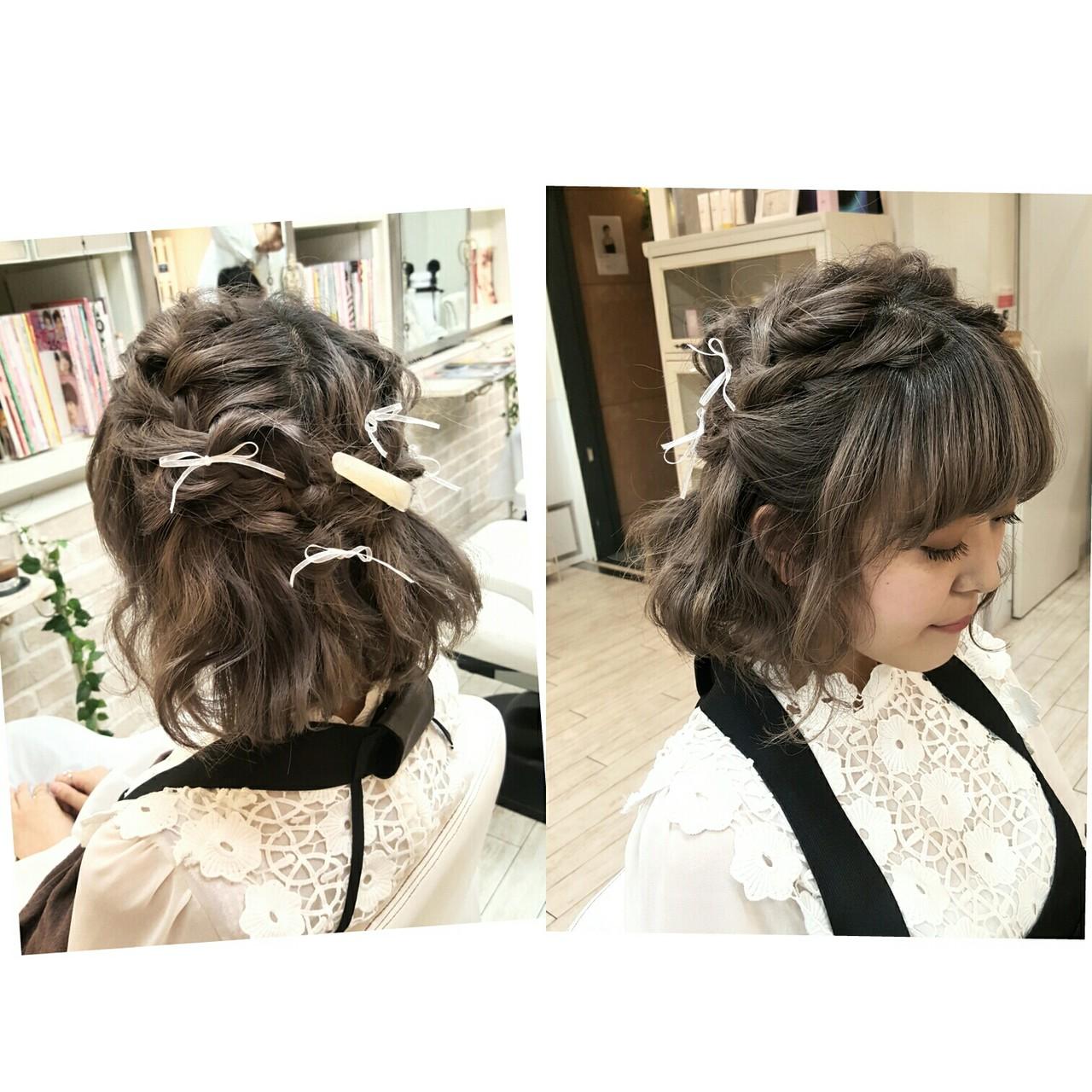 大人女子 ガーリー ヘアアレンジ ショート ヘアスタイルや髪型の写真・画像
