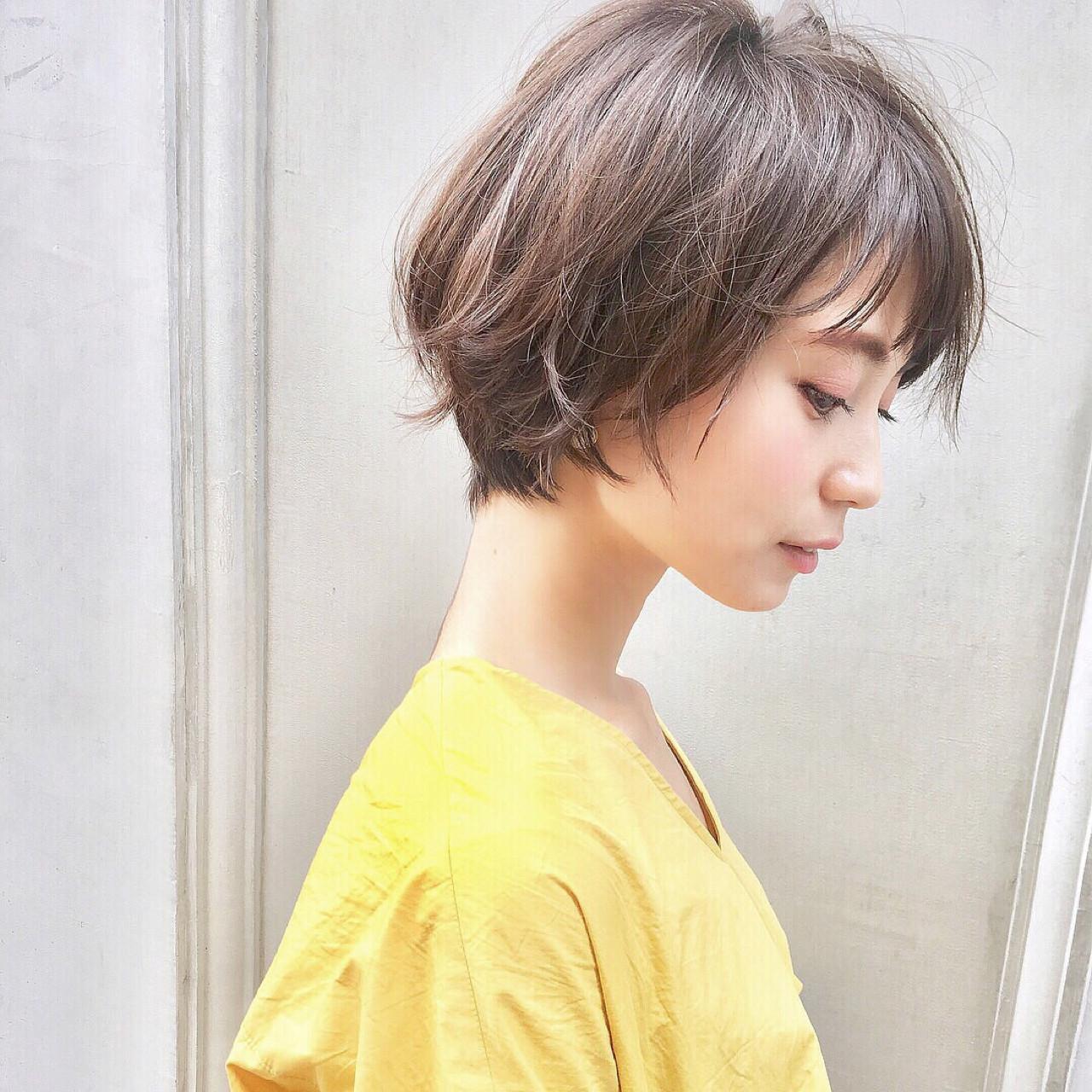 大人かわいい 涼しげ ショート ヘアアレンジ ヘアスタイルや髪型の写真・画像