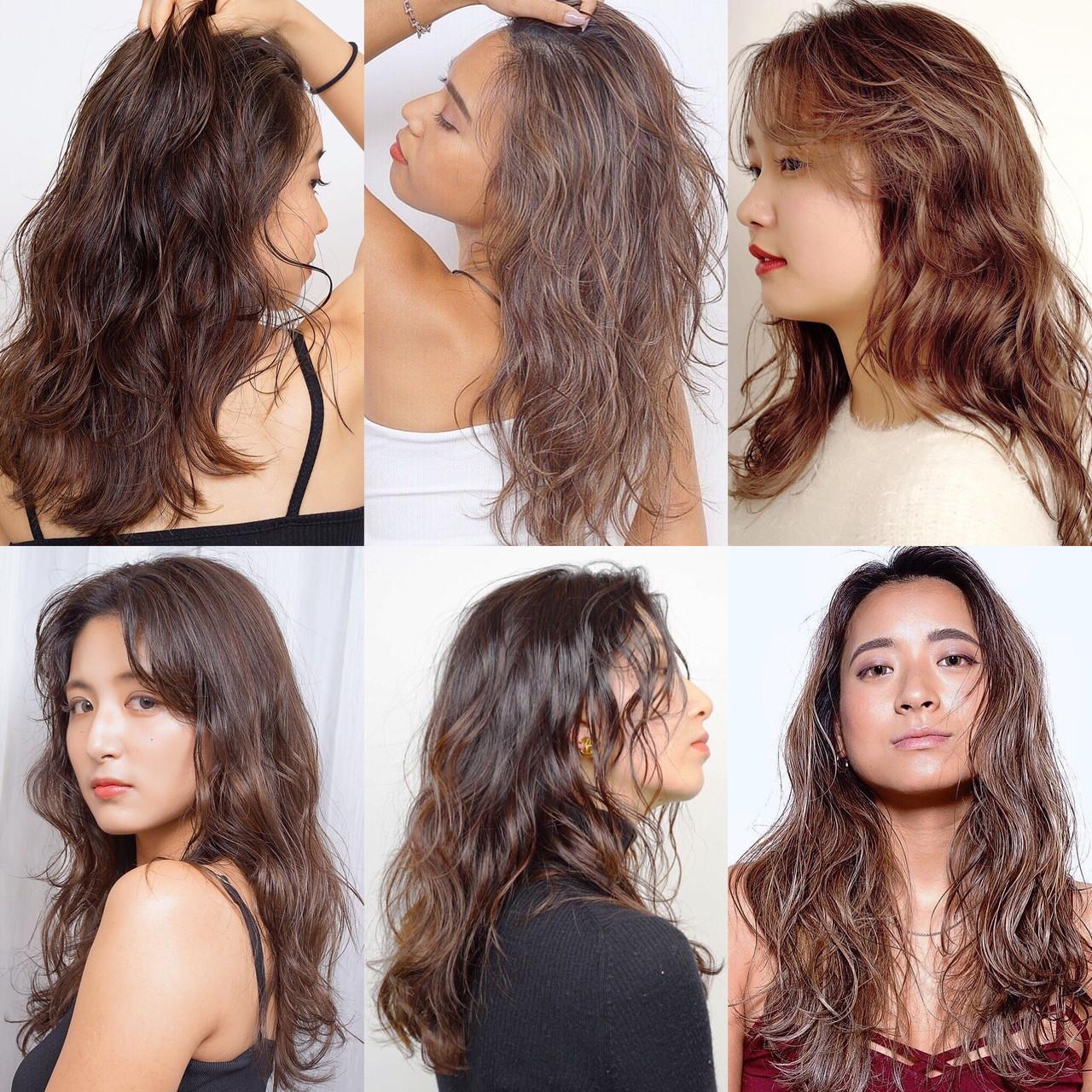 バレイヤージュ ロング ナチュラル モカブラウン ヘアスタイルや髪型の写真・画像