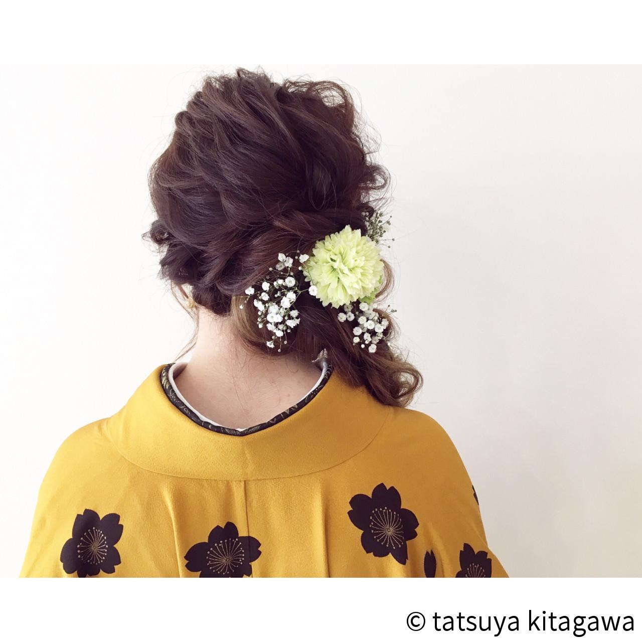 ヘアアレンジ 花嫁 ロング ゆるふわ ヘアスタイルや髪型の写真・画像