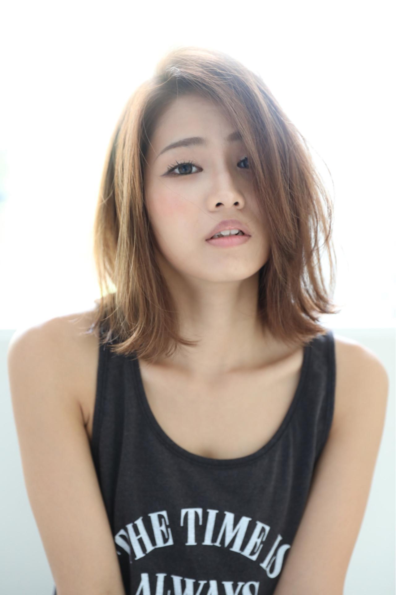 小顔 ボブ 秋 ウェットヘア ヘアスタイルや髪型の写真・画像 | 石田 学史 / DISHEL