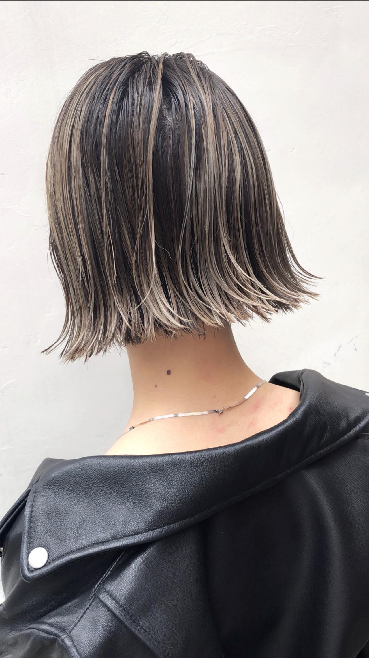 アンニュイほつれヘア 外国人風カラー グレージュ ボブ ヘアスタイルや髪型の写真・画像