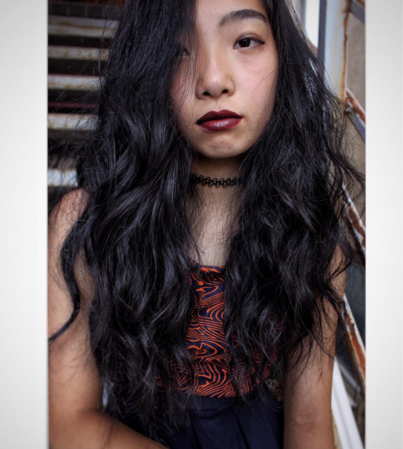 ウェーブ モード ロング 外国人風 ヘアスタイルや髪型の写真・画像