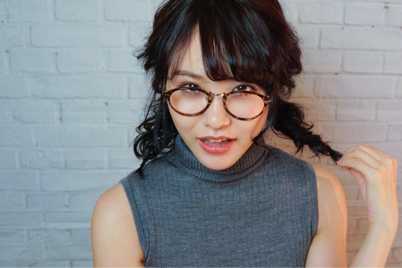 ツインテール 大人女子 ヘアアレンジ 黒髪 ヘアスタイルや髪型の写真・画像