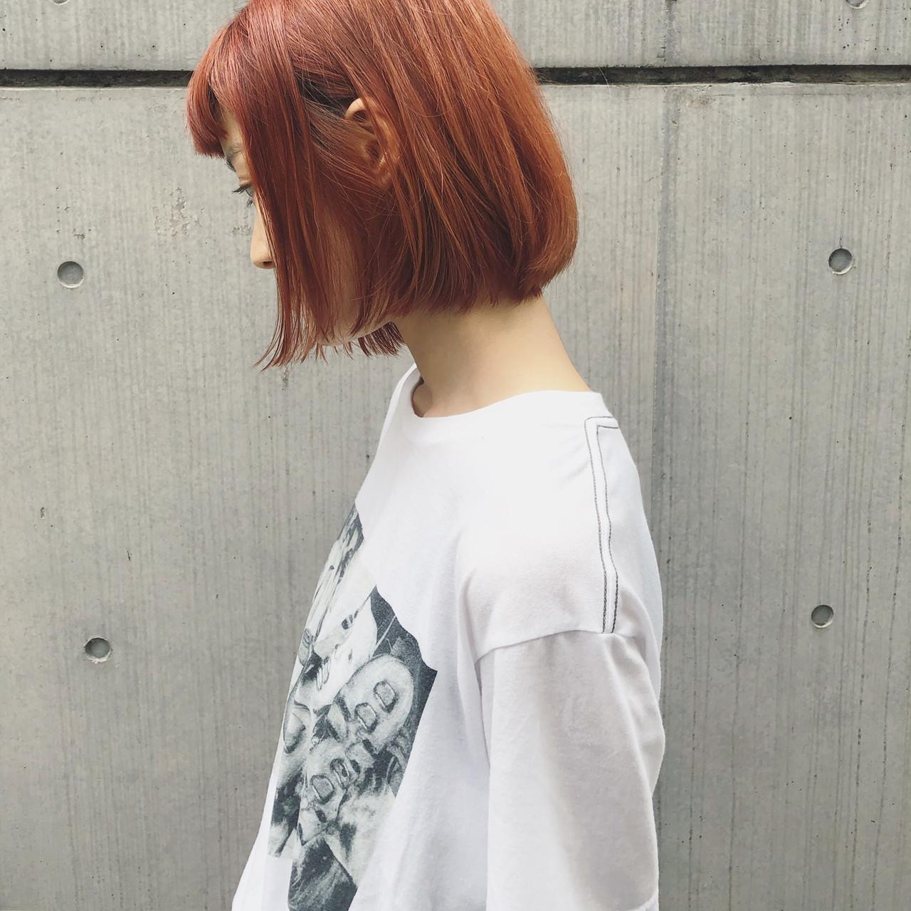 切りっぱなしボブ ミニボブ ボブ ヘアカラー ヘアスタイルや髪型の写真・画像 | 篠崎 佑介 / ticro.