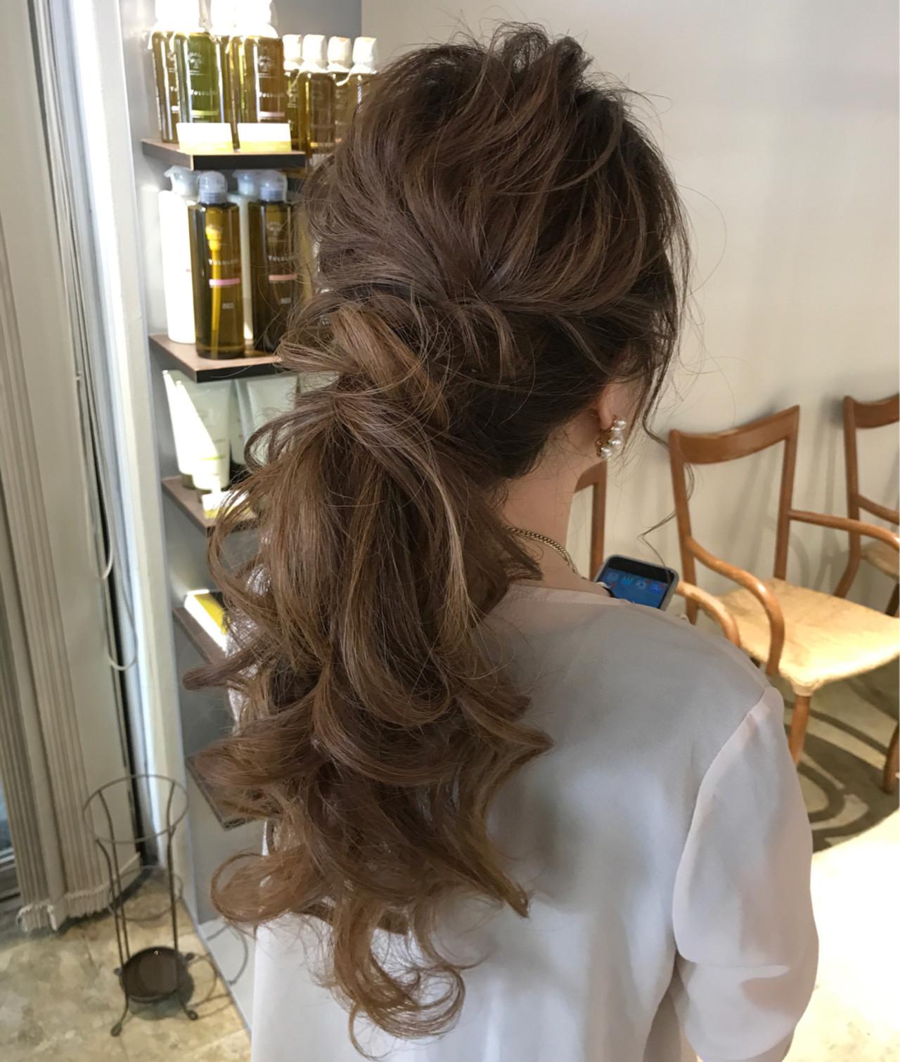 結婚式 ポニーテール 編み込み エレガント|CHERIE hair design