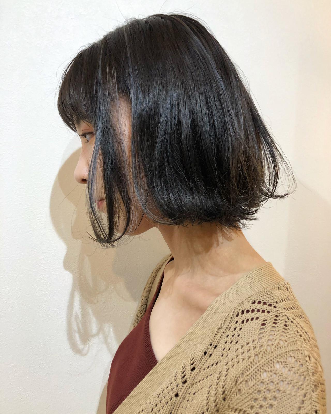 切りっぱなしボブ 外ハネボブ ヘアアレンジ ナチュラル ヘアスタイルや髪型の写真・画像