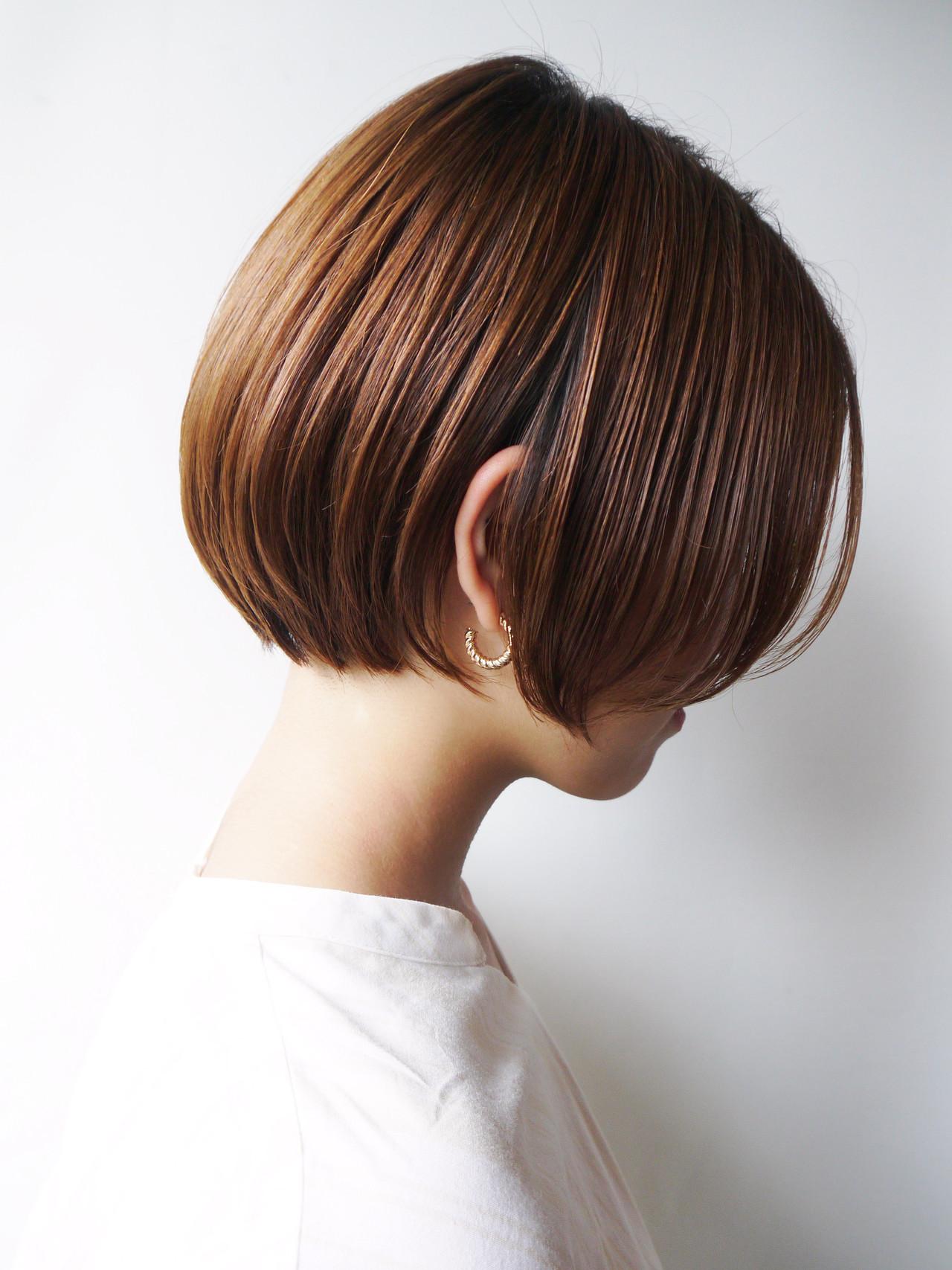 丸みショート 大人かわいい 前髪 ナチュラル ヘアスタイルや髪型の写真・画像