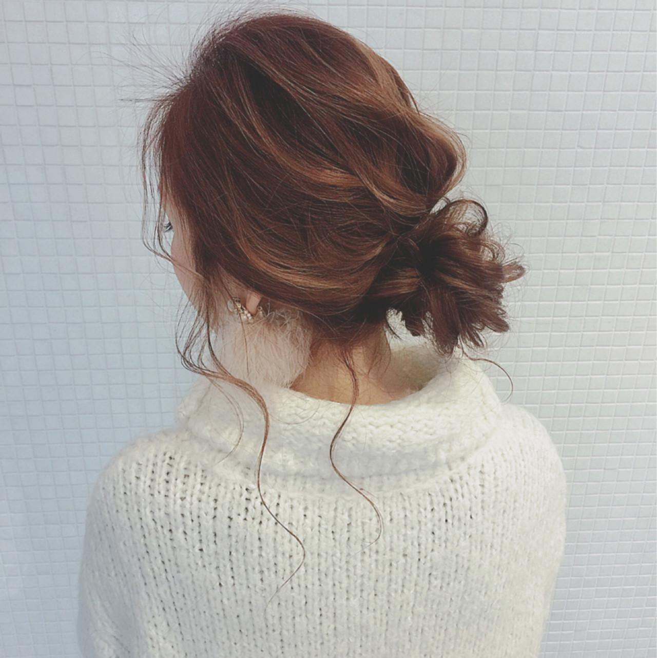 ゆるふわ フェミニン お団子 ロング ヘアスタイルや髪型の写真・画像